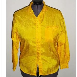 Vintage DVF Yellow Crinkle Button Down Shirt
